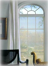A window with a Venetian blind